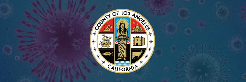 The County seal superimposed over a depiction of the COVID-19 virus