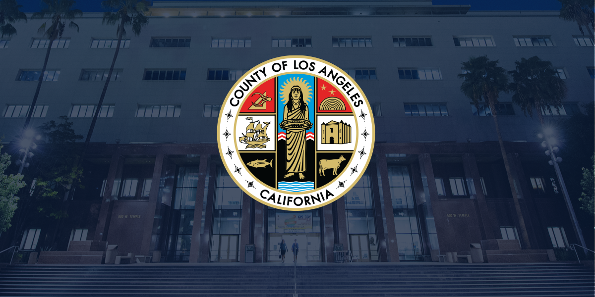 County seal superimposed on a photo of the Kenneth Hahn Hall of Administration